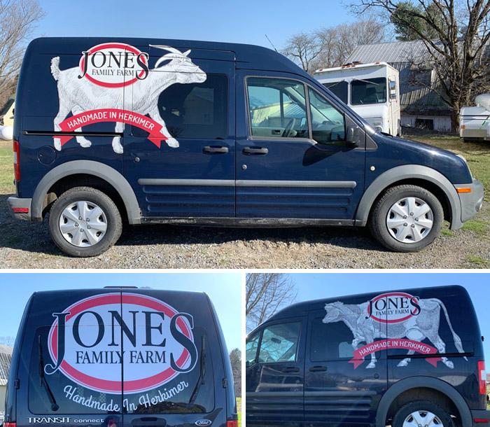 Jones Family Farm delivery van graphics